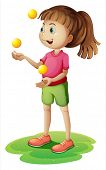 Illustration of a cute little girl juggling on a white background