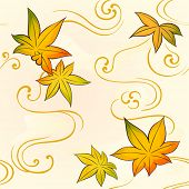 Seamless floral kimono pattern with autumn leaves