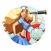 Sailor girl with pipe and rescue ring. Eps10 vector illustration. Isolated on white background