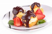 chocolate choux and strawberry