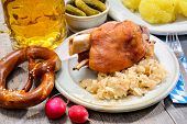 Schweinshaxe (German Pork Knuckle) with pickled cabbage