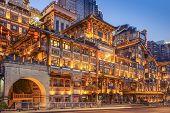 Chongqing, China at Hongyadong Hillside Buildings at twilight.