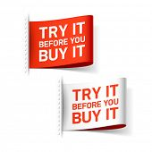 Try it before you buy it label. Vector.