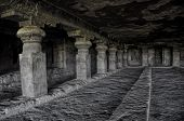 picture of ellora  - Inside of Ellora caves unseco archeological site in India - JPG