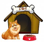 Illustration of a dog and a dog house