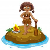 Illustration of a caveman standing on an island