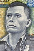 BURMA - CIRCA 1987: Thakin Po Hla Gyi on 45 Kyats 1987 Banknote from Burma.
