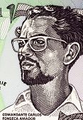 NICARAGUA - CIRCA 1984: Carlos Fonseca (1936-1976) on 50 Cordobas 1984 Banknote from Nicaragua. Nicaraguan teacher and librarian who founded the Sandinista National Liberation Front.
