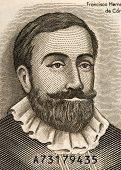 NICARAGUA - CIRCA 1992: Francisco Hernandez de Cordoba (1475-1526) on Half Cordoba 1992 Banknote from Nicaragua. Founder of Nicaragua.