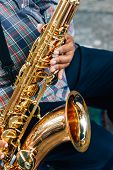 image of saxophone player  - Sax player - JPG