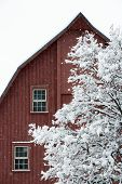 Red Barn During A Snow Storm