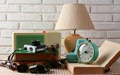 Retro things on table, close up