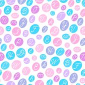 Seamless pattern with English cursive letters.