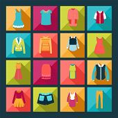 Clothes Flat Vector Icons Set - Illustration