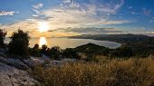 Sunset view at Toroni bay, aerial photo from the top of a hill, Sithonia
