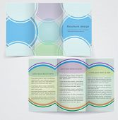 Tri-fold Business Brochure Template, Vector Blue Flyer Design With Green And Purple Elements