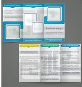 Tri-fold Business Brochure Template, Vector Blue Flyer Design With Silver Elements