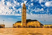 Hassan II Mosque on the beach of Casablanca at sunset, Morocco