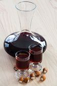Homemade Hazelnut Liqueur In A Carafe