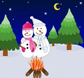 Snowman Couple Snuggling Up to a Hot Fire