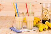 Banana juice and blender.