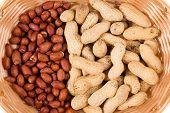 Wicker basket full of peanuts.