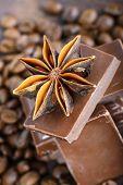 Macro shot to anise with chocolate