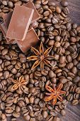 The chocolate, coffee beans and anise