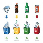 Recycling Bins For Paper Plastic Glass Metal Trash