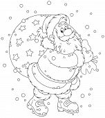picture of christmas claus  - Santa Claus carrying a big bag of Christmas presents - JPG