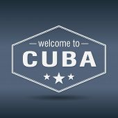 Welcome To Cuba Hexagonal White Vintage Label