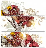 Floral  Backgrounds Set With Flowers,bird And Butterflies