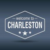Welcome To Charleston Hexagonal White Vintage Label
