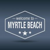 Welcome To Myrtle Beach Hexagonal White Vintage Label