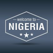 Welcome To Nigeria Hexagonal White Vintage Label