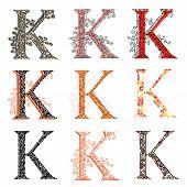 Various Combination Fishnet Letter K.