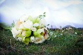 Wedding Bouquet With White Roses And Orchids
