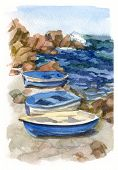 Watercolor Seascape With Boats