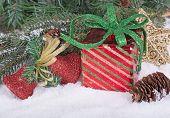 Gift Box And Christmas Ornaments