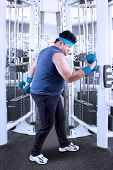 Overweight Person Exercise With Barbells