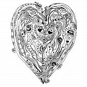 Original drawing doddle heart.