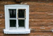 Window Of Old Wooden Rural House