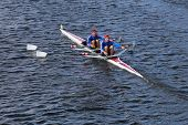 Don rowing with Steve Dmytrasz and Thomas Lancaster race in the Head of Charles Regatta