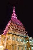 The pink Mole Antonelliana, Turin