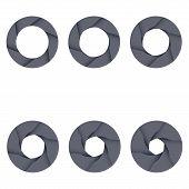 Set of black camera shutter icons on white background.