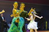 Minsk-belarus, October 18, 2014: Unidentified Dance Couple Performs Youth-2 Latin-american Program O