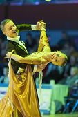 Minsk-Belarus, October 18, 2014: Unidentified Dance Couple Performs Adult Standard European Program