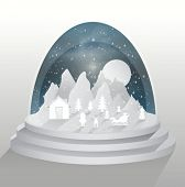 Digitally generated Christmas tableau in snow globe vector