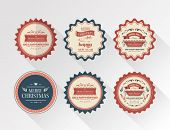 Digitally generated Stylish merry christmas badges vector