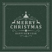 Christmas Postcard Ornament Decoration Background. Vector Illustration Eps 10. Happy New Year Messag